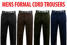 NEW MENS CORDUROY COTTON PANTS CORD FORMAL TROUSERS BIG PLUS SIZES FREE BELT UK