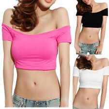 Hot Clubwear Sweety Womens Sexy Off Shoulder Dancer Hiphop Club Crop Tops Tee