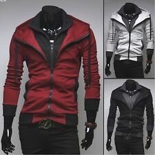 Fashion Mens Slim Fit Irregular Zip Up Hoodies Jackets Coats 4 Colors 6 Sizes