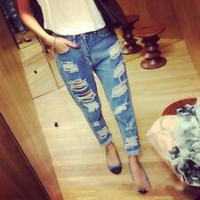 Girl's Ripped Jeans Blue Low Waist Trousers Denim Cat Scratch Hole Loose Pants
