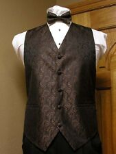 Vest Chocolate / Brown Full Back Bow Tie Swirl Imperial Tuxedo Steampunk Wedding
