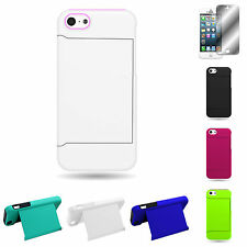 For Apple iPhone 5c - Credit Card Slot Full Kickstand Hybrid Armor Cover Case