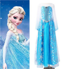 Halloween Snow Frozen Costume Cosplay Adult Lady Tulle Elsa Fancy Dress S/M/L