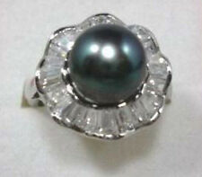 12mm Black South Sea shell pearl Gemstone Bead Jewelry ring size 7 8 9 AAA Grade