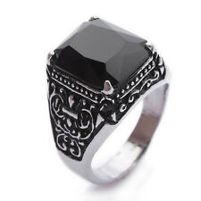 Black Onyx Gemstone Stainless Steel Mens Ring Size 9 10 11  R265