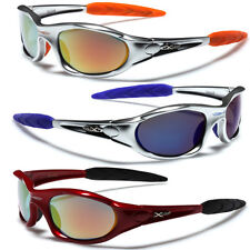 Men Sport Wrap Around Sunglasses Cycling Baseball Running Glasses Black Silver