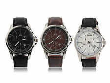 New Men PU Leather Strap Analog Large Dial Water Resistant Wrist Watch Calendar