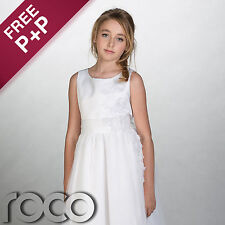 Flower Girl Dress Girls for Wedding White Size Age 1 to 14 Years