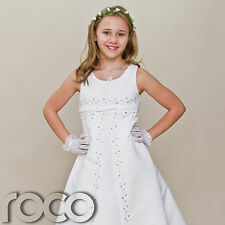 Dress for Girl White First Holy Communion Dress Wedding Bridesmaid 6 - 10 yrs