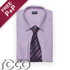 Suits for Mens Lilac Wedding Formal High Quality Cheap Smart Shirt & Tie Set