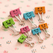 48Pcs Smile Hollow Metal Color Binder Clips Stationery Office Supplies 25mm