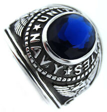 US Navy Montana Blue Stone Military .925 Sterling Silver Mens Ring