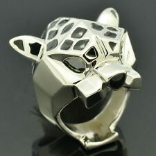 Cute Leopard Panther Cocktail Ring Women Jewelry Silver Tone Green Eye RIA002