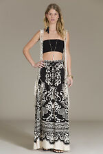 NEW FLYING TOMATO BLACK KHAKI FLORAL LONG MAXI BOHEMIAN SKIRT pick S M L