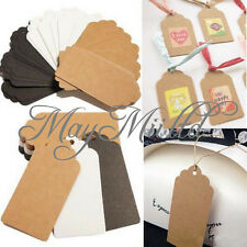 100pcs Kraft Paper Gift Tags Wedding Scallop Label Blank Luggage Card