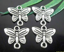 Wholesale 50/100Pcs Tibetan Silver  Butterfly  Connectors    14x13mm(Lead-free)