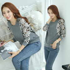 New Women Fashion Korean Lace Floral Slim Top Hot Long Sleeve T Shirt Blouse