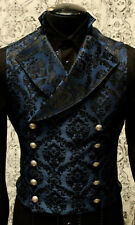 SHRINE GOTHIC VAMPIRE CAVALIER VEST JACKET VICTORIAN BLUE BROCADE GOTH STEAMPUNK