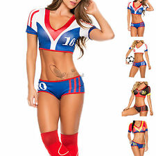 Sexy Soccer Babe Hottie FIFA Fantasy Costume Cheerleader Fancy Dress Outfit OS M