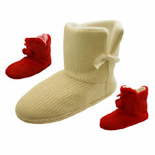 Ladies Red Faux-Fur Cream Knitted Cheap Xmas Gift  Slipper Boots Slippers Size