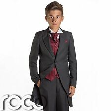 Boys Grey & Burgundy Tail Suit , Wedding Suits, Page Boy Suits, Slim Fit Suits