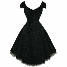 Black Party Prom Dress Leopard Print 50s Swing Vintage Style Size 8 - 18