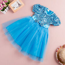 Toddler Girl Kids Sequins Party Dresses Smock Eveing Dress 1-6 Yrs Clothes