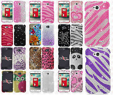 For LG Realm LS620 Crystal Diamond BLING Hard Protector Case Snap Phone Cover