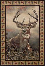 Lodge Cabin Rustic Deer Buck Antler Rust Red Area Rug