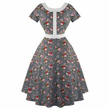 Whispering Ivy Floral Check Print 50s Vintage Tea Party Dress