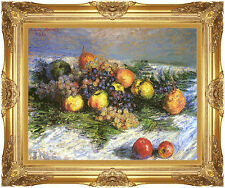 Framed Claude Monet Pears and Grapes Still Life Fruit Painting Repro Canvas Art