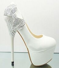 White Princess Bows Crystal Stiletto High Heels Formal Party Wedding shoes