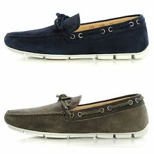 Mens Shoes PRADA Driver Slip-On Loafers 2DD100 Slippers Suede Bow-Tie Moccasins