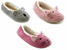 Ladies Animal Novelty Fleece Lined Knitted Ballet Slippers