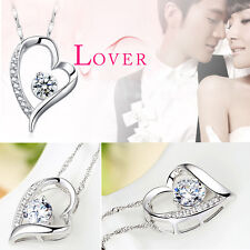 New Fashion Women Silver White Chain Necklace With Heart Pendant Crystal Wedding