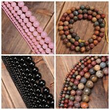 Natural Gemstone Agate Round Ball Loose Beads Multicolor Findings Strand 15''