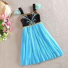 Kids Baby Girls Princess Frozen Elsa Anna Sleeveless Party Gown Fancy Dress