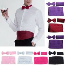 Mens Satin Cummerbund Bowtie Pocket Square Hanky Set Formal Tuxedo Prom Wedding