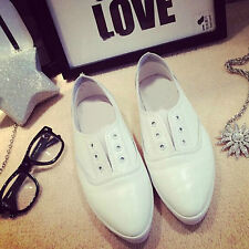 Women Soft white pointed toe korean style vintage chic flats loafers