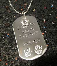 Dog Tag w/ Baby Feet Charm Necklace Key Chain Fathers Mothers Day Child Name