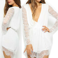 New Womens Romper Sexy Trumpet LACE Sleeveless Clubwear Dress Jumpsuits Shorts