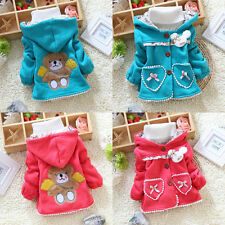 Baby Girls Fall Winter Casual Hoodie Cute Bear Lined Jacket Coat Outerwear