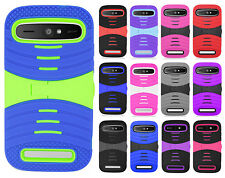 For Boost Mobile ZTE Warp Sync N9515 Hard Gel Rubber KICKSTAND Case Phone Cover