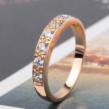 Luxury 18k Yellow Gold Filled White Sapphire Crystal Wedding Band Ring J-R