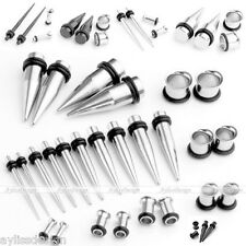 2 Pairs Surgical Steel Mixed Taper + Plug Tunnel Ear Expander Stretcher Set Kit