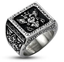 316L Stainless Steel Men's Ornate Royal Crest Emblem Shield Ring Size 9-14