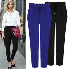 New Casual Women Pants Drawstring Elastic Waist Comfy Full Length Harem Pants