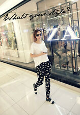 Black Fashion Womens Skull Casual Trousers Pencil Cotton Haroun Pants Plus Size