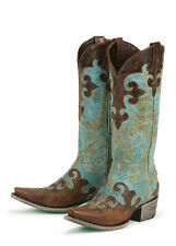 Lane Western Boots Womens Cowboy Dawson Turquoise Brown LB0023A