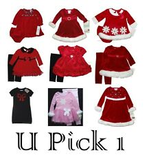 LITTLE GIRLS CHRISTMAS HOLIDAY DRESS LEGGINGS OUTFIT CHILDRENS CLOTHES WEDDINGS
